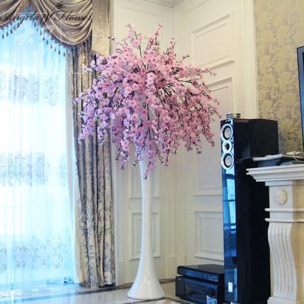 Hi Q Cherry Blossom Flower Decoration Wedding Hotel Living Room Vase  Artificial Sakura Mix Silk Flowers Halloween Party Supplies Handy Manny  Party Supplies ...