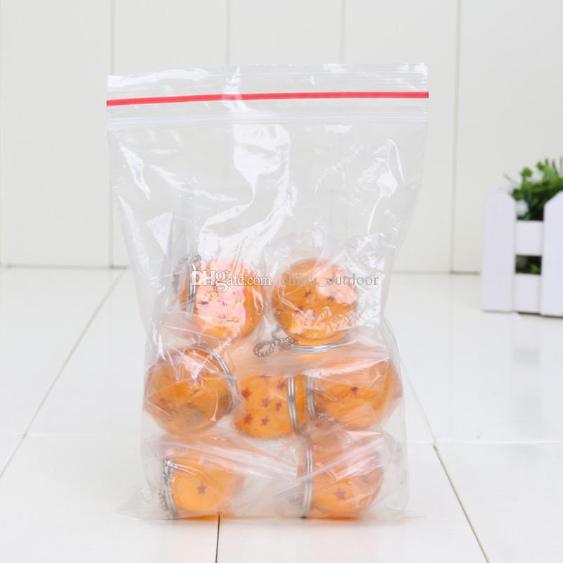 7 unids / set 2.5 cm Dragon Ball Z 7 estrellas bolas de cristal llavero colgante 1 2 3 4 5 6 7 estrellas conjunto completo
