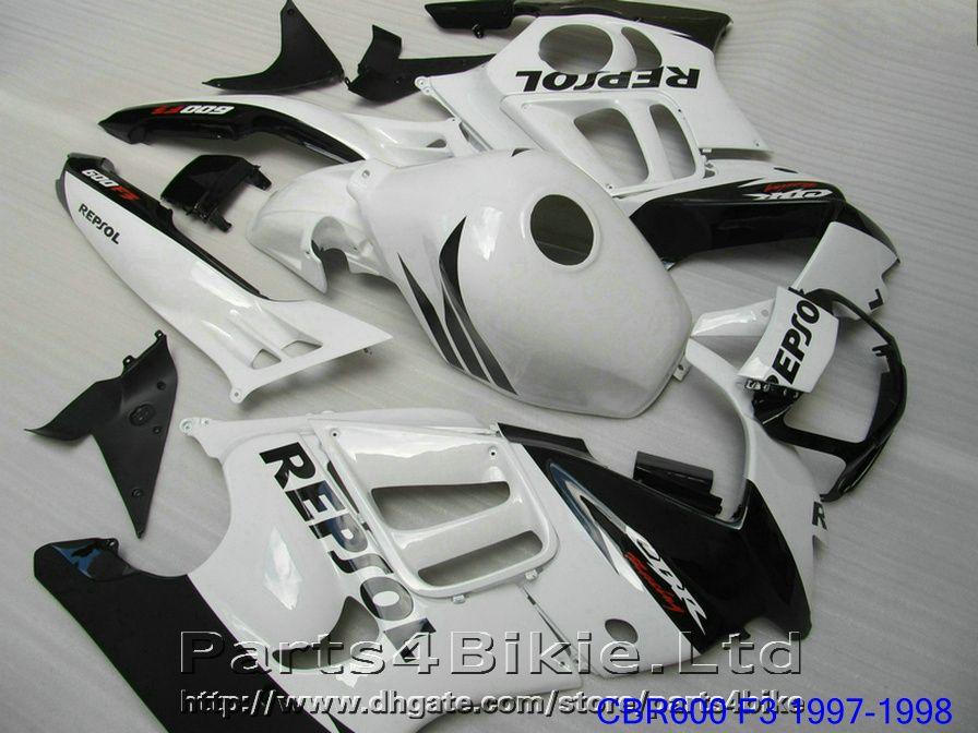 REPSOL 혼다 용 블랙 화이트 바디 오토바이 부품 1997 1998 CBR 600 F3 페어링 키트 CBR600F3 맞춤형 페어링 CBR600 F3 95 96 CGIS