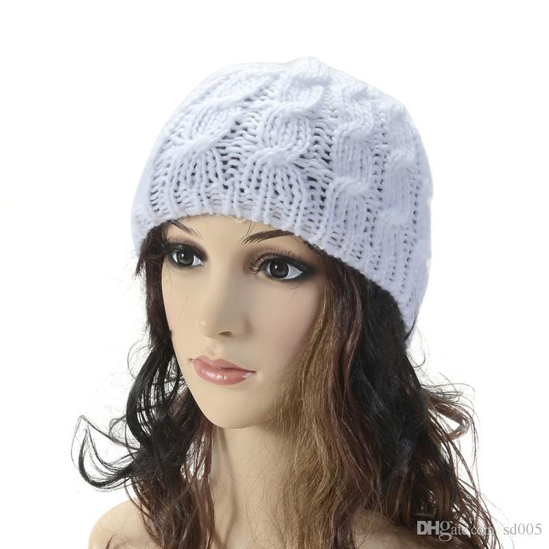 Winter Protection Hats Plain Weave Hand Made Crochet Knitting Beanie Coarse Wool Aduts Women Cap Gift 3 4bd B