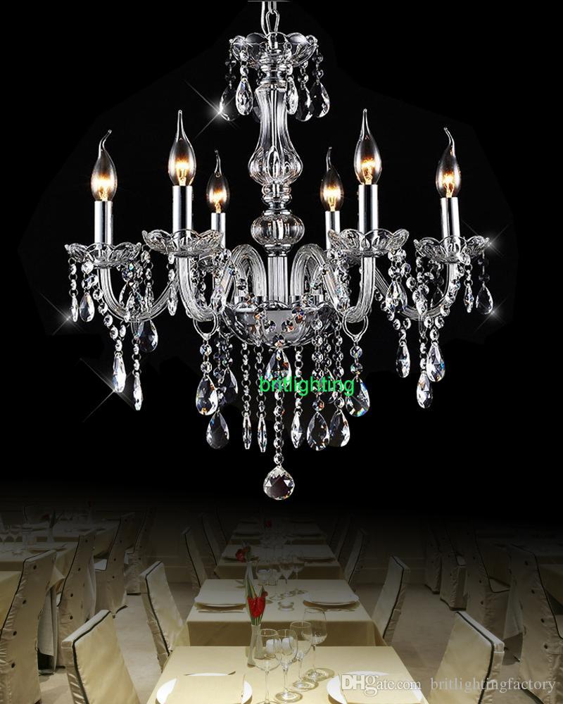 Modernos lustres de cristal sala de jantar 6 luzes Lustre com pingentes de cristal hall de entrada lustre levou casa de vidro braços lustres