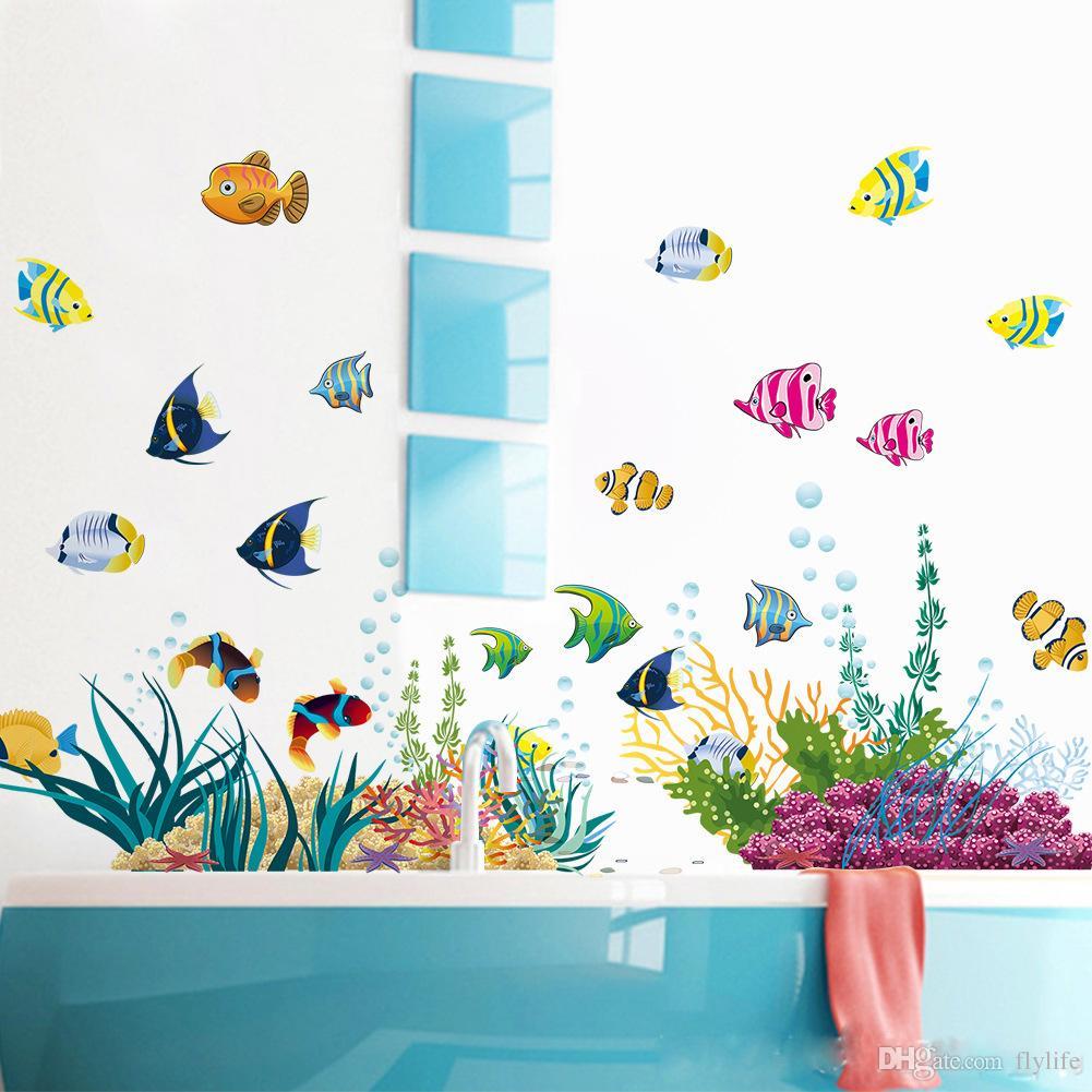 Diy Tropical Fish Nursery Room Cartoon Undersea World Wall Sticker - Wall decals kids room