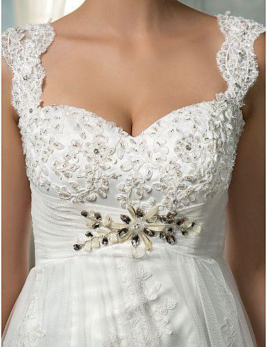 2016 New Fashion Popular Ivory Court Train Empire Square Zipper Appliques Tulle Sheath Wedding Dresses 211