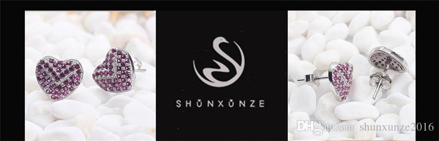 925er Sterlingsilber Shinning-Ohrringe Edles Großzügiges S-3746 Romantic Amethyst Red Zirkonia Erstklassige Produkte Empfehlen Sie Promotion
