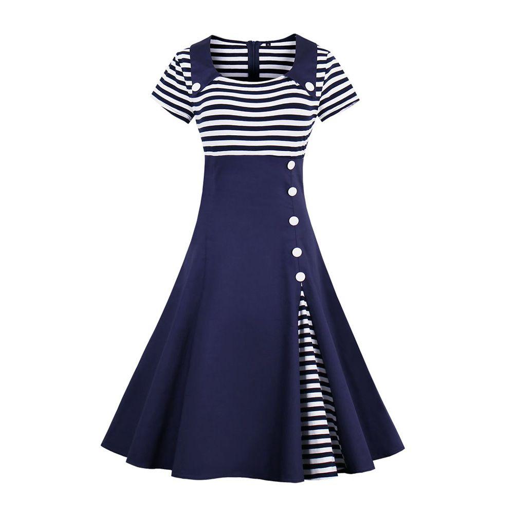 942fe5cf7446 2018 Spring 1528 Retro Vestido Navy Stripe Collar Button Zipper 1950s  Vintage Swing Casual Women Maxi Wrap Dress Evening Party Plus Size Long And  Short ...