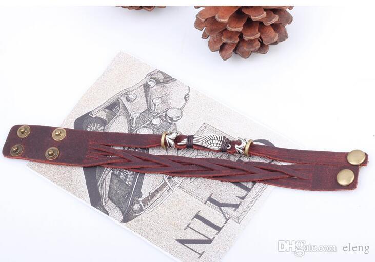 NOUVEAU Femmes en cuir Wrap Bracelet Bijoux Vintage Ange ailes véritable à la main en alliage Charms Bracelet en cuir QN218