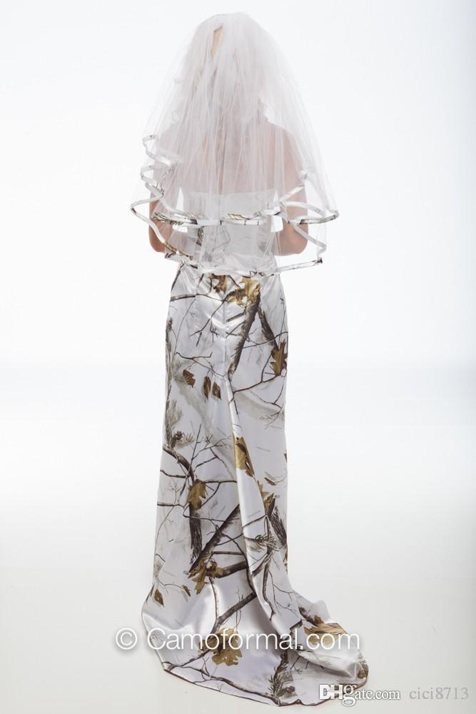 На складе Камуфляж Свадебные платья Платья подружки невесты Холтер атласное Белое Снег Камуфляж Пром Вечернее платье Homecoming без фаты