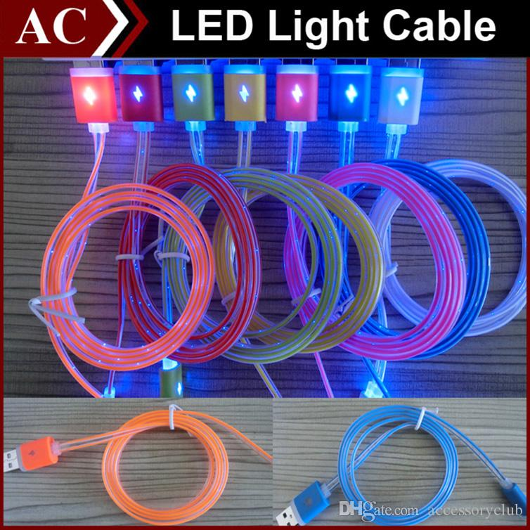 Visible Led Light Micro Usb Cable 1m 3ft Flat Noodle