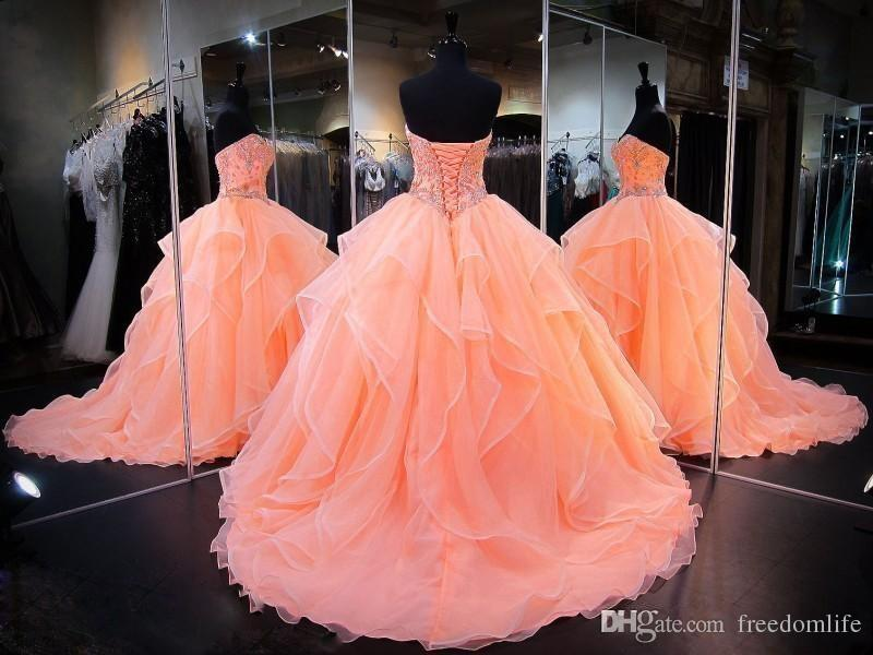 New Ball Gown Caral Quinceanera Dresses Bling Sweetheart Crystal Beaded Rhinestones Tiered Ruffles Organza Sweet 16 Party Prom Evening Gowns