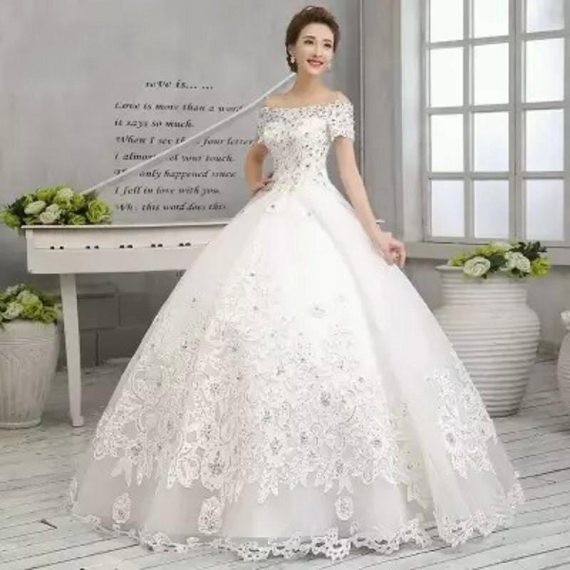 Ball Gown Wedding Dresses 2015 New Off Shoulder Sleeves Diamonds ...