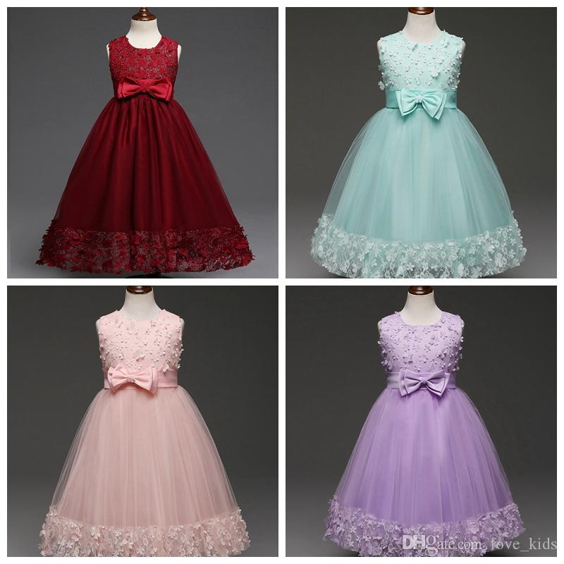 Kids Clothing Children Girls Dresses Elegant Flower Lace Long Dress Big Bow Round Neck Baby Girl Gown top quality