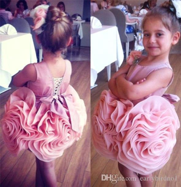 2016 Lovely Pink Flower Girl Dresses for Wedding Pleated Organza Mini Cupcake Cute Kids Glitz Pageant Gowns with Satin Belt Jewel BA0618