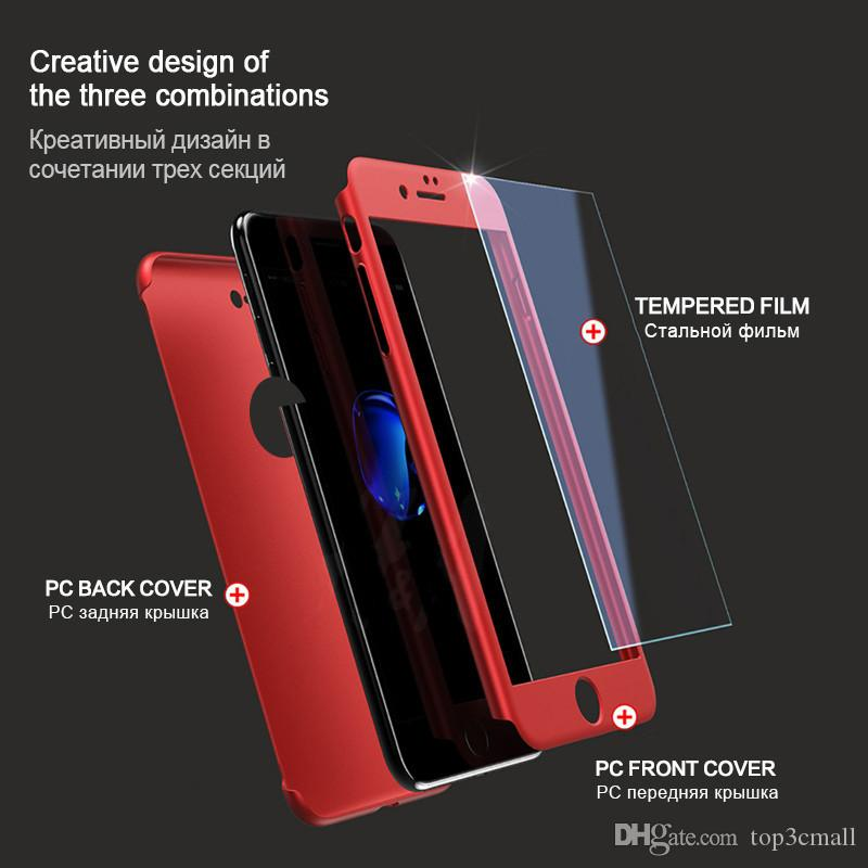 For iPhone X 8 8plus 6 6S 7 Plus 5 5S SE Ultra-thin Hybrid 360 Degree Full Body Protective Case Cover with Tempered Glass Screen Protector