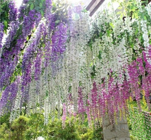 Artificial Silk Flower Wisteria Vine Rattan Wedding Decorations