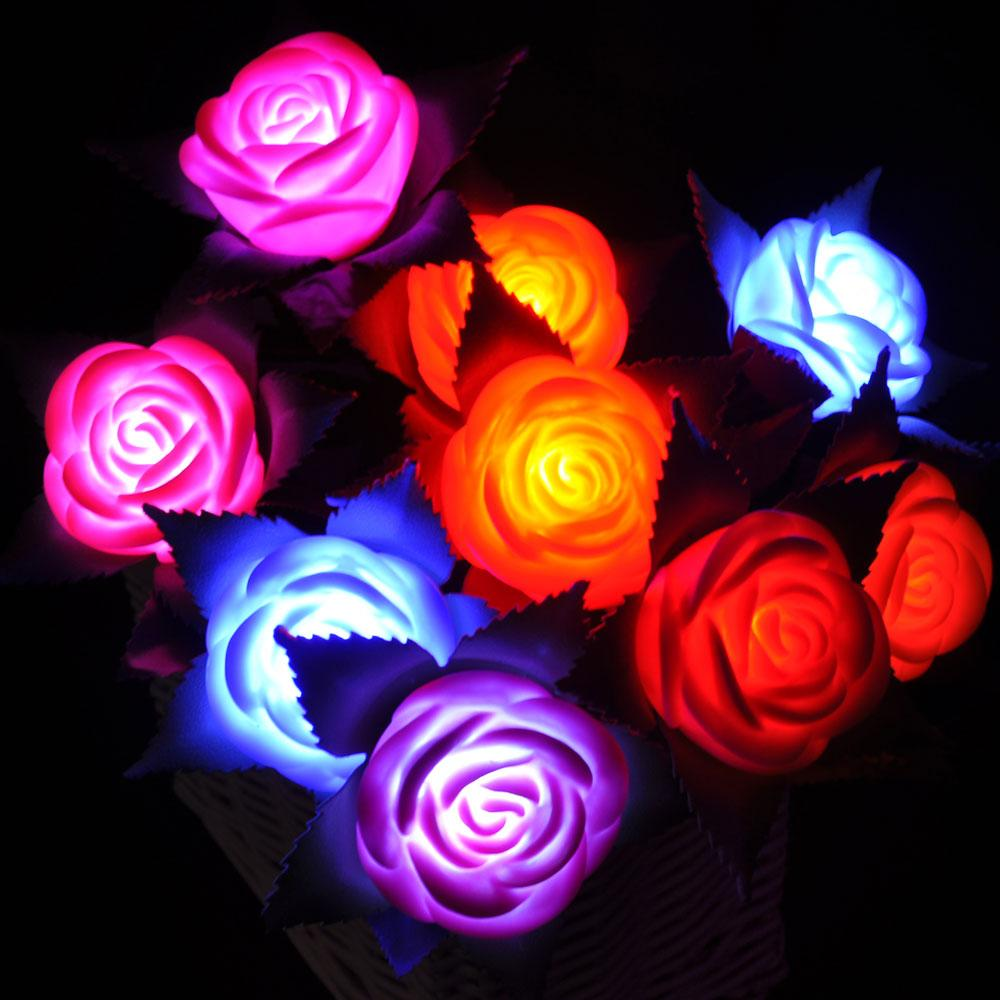 2019 Rose Shaped Led Light Flowers Wedding Favors Romantic