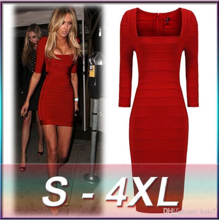 2018 S 4xl Plus Size New Red Fashionable Slash Neck Women Bandage