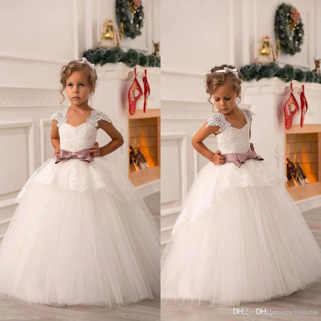 White Ivory Cute Off Shoulder Lace Sash Ball Gown Net Baby Girl Birthday Party Christmas Pageant Dresses Children Flower Girl Gowns