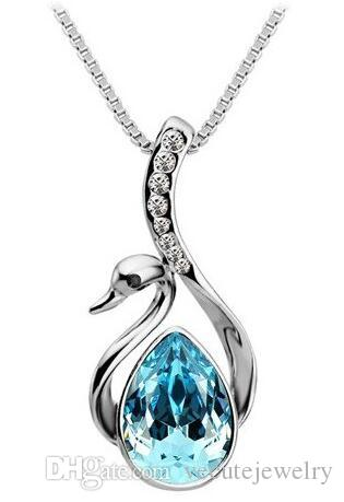 3c41a449604c1 New Fashion 18K White Gold Plated Austrian Crystal Swan Necklace for Women  Made With Swarovski Elements Wedding Jewelry Wholesale Price