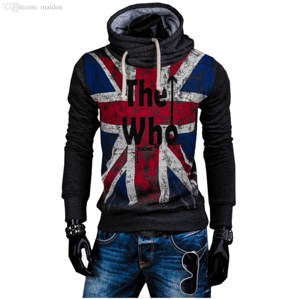 2018 Wholesale 2015 Fashion New Uk Flag Printed Hoodies Sweatshirts Men Casual Design Fleece