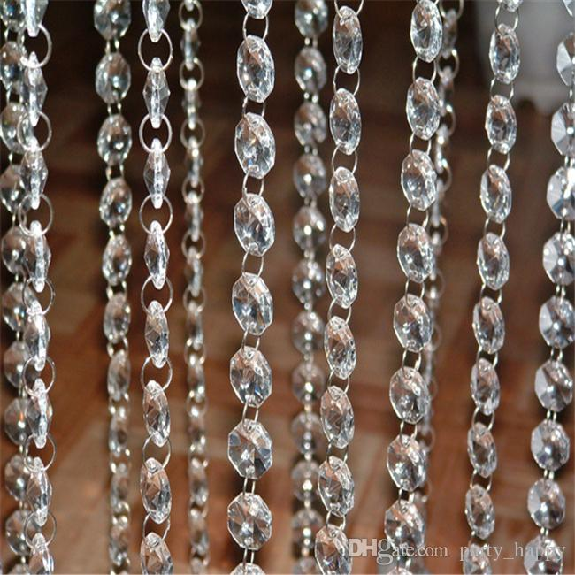 DIY Craft Pearl Wedding Decoration Acrylic Octagon Bead Diamond Beads Beads Garland Chandelier Hanging Wedding Party Décor Genuine Pearl Flo