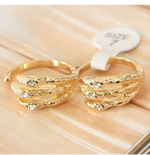 Min.order is $15 European And American Trade Pop Punk Style Textured Opening Ring Bicyclic Skeleton Hand-j192