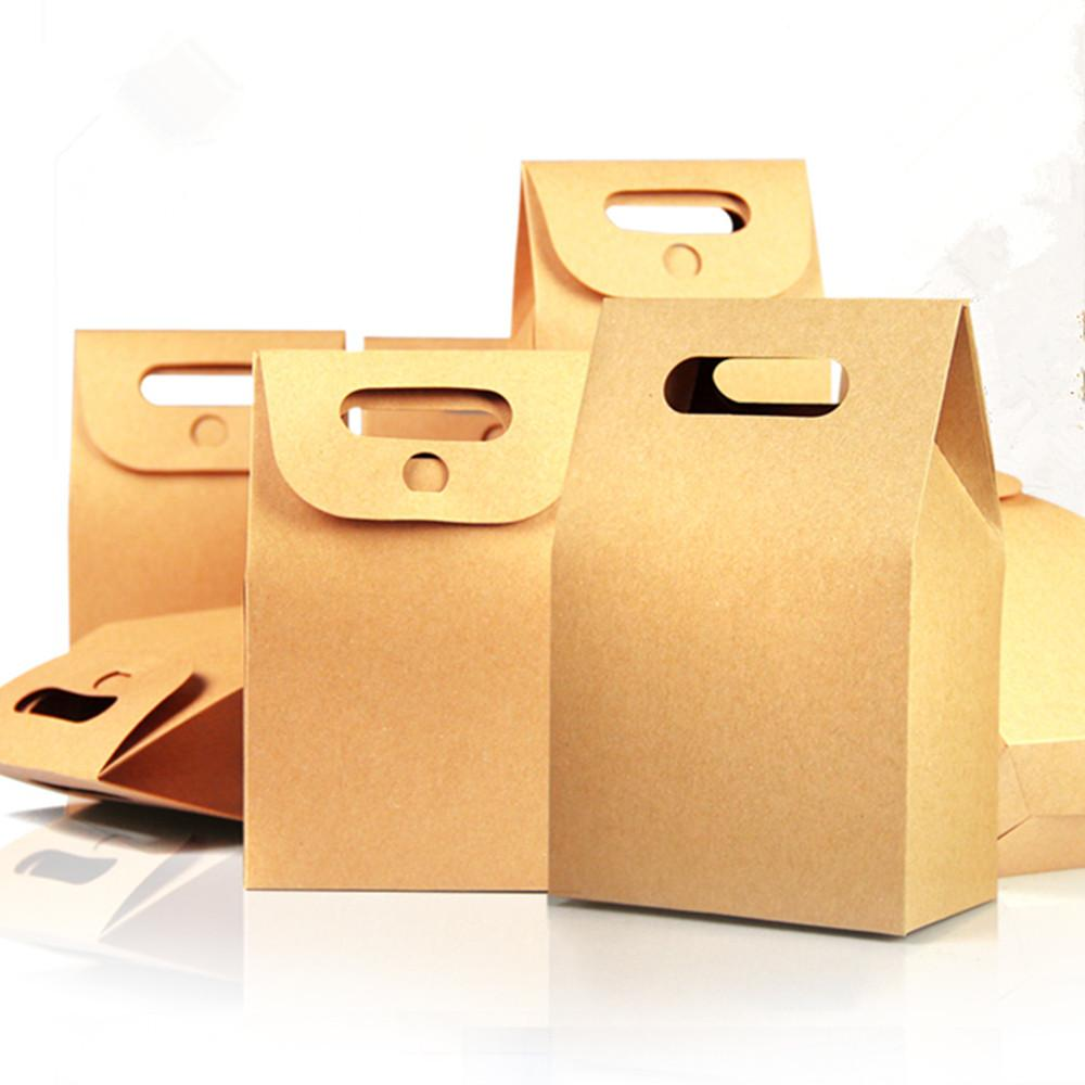 Wholesale 10.5*15+6cm Kraft Paper Box Gift Packing Tote Bag With Handle For Wedding Favor Candy Chocolate Food Storage Packaging