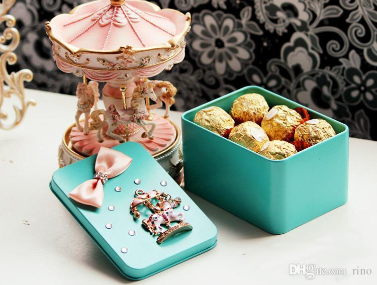 وصول جديدة مرح الذهاب جولة زفاف لصالح صندوق الحلوى القصدير حاويات عرس الحسنات حامل هدية الحلوى القصدير الحاويات شحن مجاني