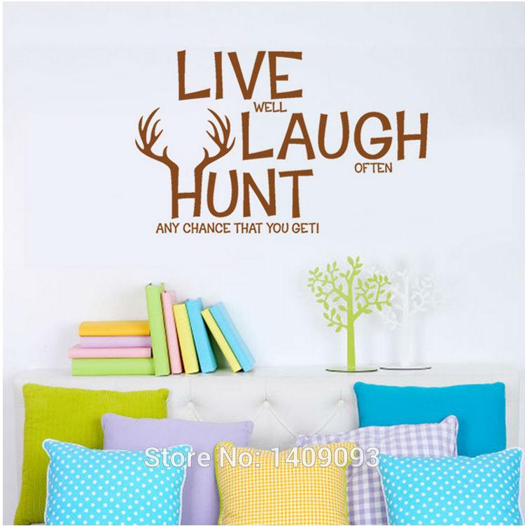 Vinyl Wall Quotes Bedrooms Living Room Wall Decals Live Laugh Hunt Brown  Color DIY Vinilos Stickers Home Decoration