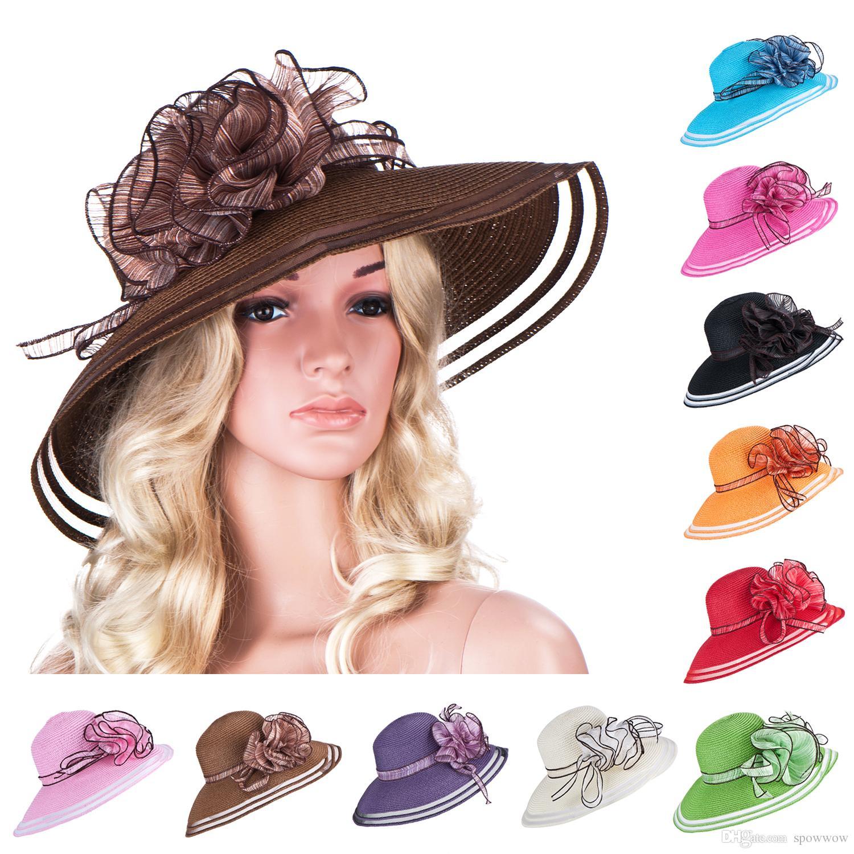 New Style Floral Womens Dress Church Wedding Kentucky Derby Wide Brim Straw Summer  Beach Hat A115 Bucket Hats Bucket Hat From Spowwow facbe2d9d91e