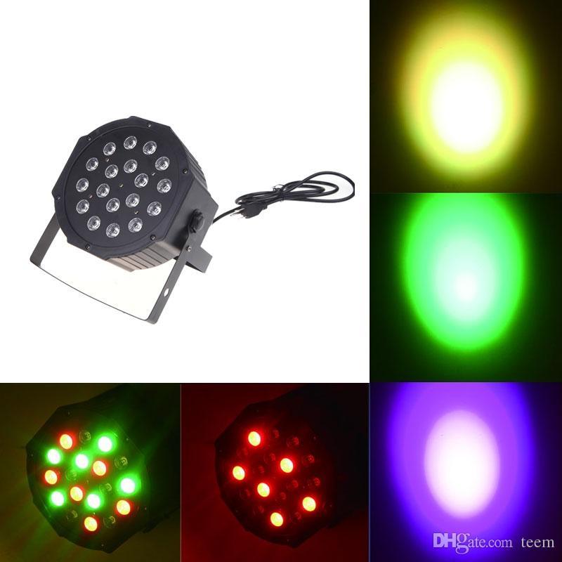 شحن مجاني كبير أدى ضوء المرحلة ضوء 18x3w 54 واط 85-265 فولت عالية الطاقة RGB الاسمية الإضاءة مع DMX 512 سيد الرقيق الصمام شقة دي جي السيارات تحكم