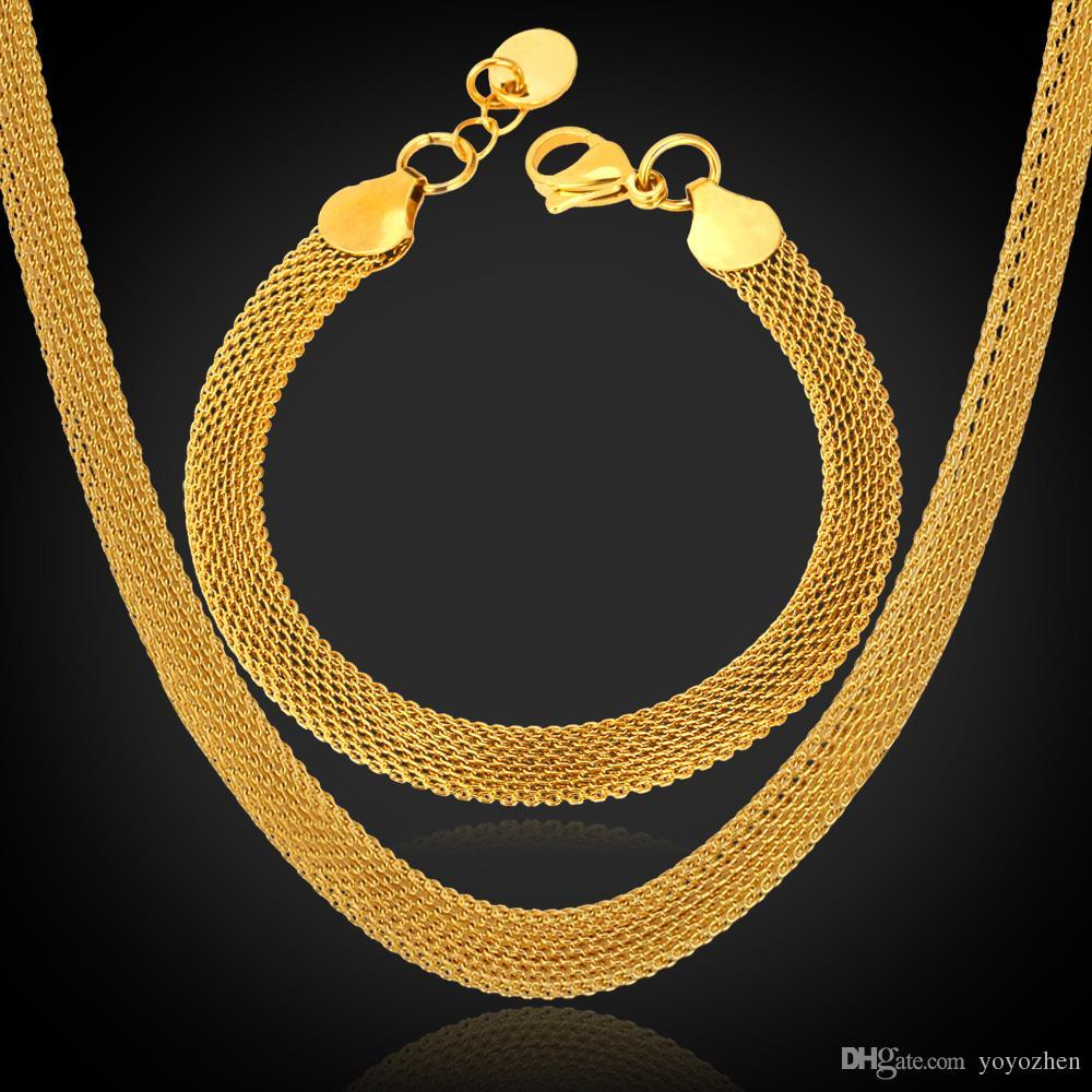 18K 'Stämpel Kvinnors Högkvalitativa Guldfyllda Chunky Halsband Kedjor 18K Real Gold Plated Figaro Halsband 5mm 50cm