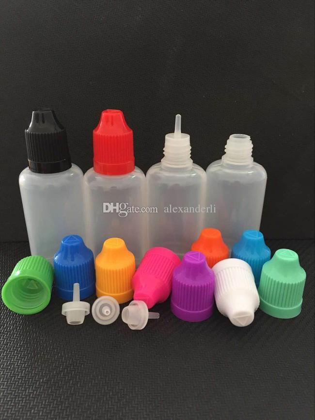 Eliquid 점적기는 3ml5ml10ml15ml20ml30ml50ml60ml100ml120ml 아동 증명 모자 E cigs 주스 병을 가진 플라스틱 병을 병에 넣습니다