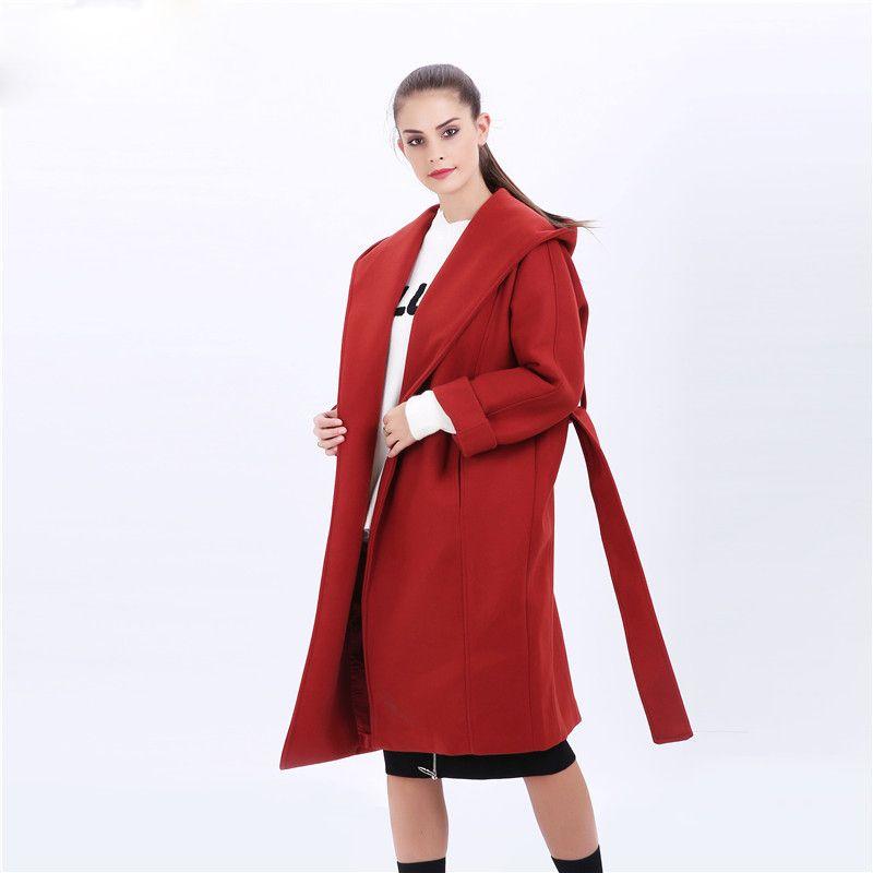 New Women Red Loose Coat Long Jacket Winter Wool Blend Loose Outwear Trench