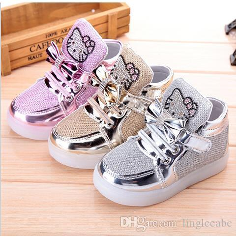 Kids Shoes Children Lighted Casual Shoes High Rhinestone Hello Kitty Shoes  For Girls Baby Mesh Travel Shoes Girls Boots Sneakers Shoes For Kids Kids  White ...