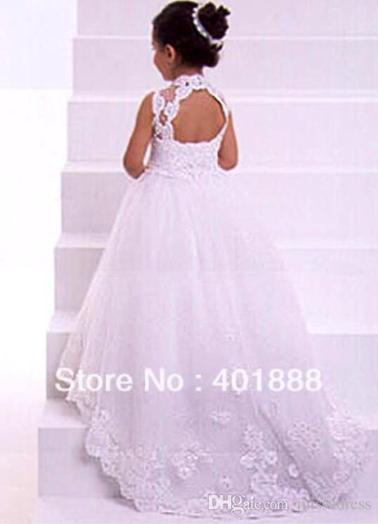 Apliques de encaje de cuello alto blanco Hi Lo Vestidos de flores de abalorios de tul de tela Encantadora princesa Vestido de niña de alta calidad por encargo
