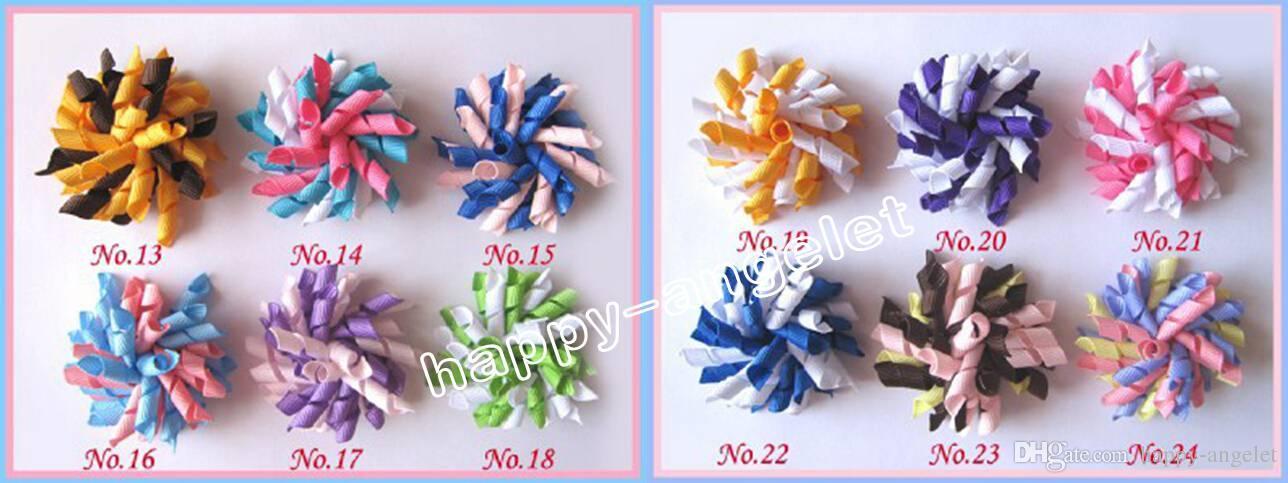 rulos de pelo del bebé de la cinta de niños arquea las flores clips corker adornos para el cabello pelo del korker lazos de cinta bobbles accesorios para el cabello PD007