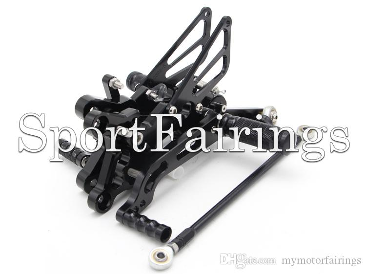 Black Ajustable CNC Billet Rearset Rear Set Reposapiés Foot Set Footpegs Foot Peg Para Yamaha YZF R6 06 07 08 09 10 11 12 13 Motocicletas