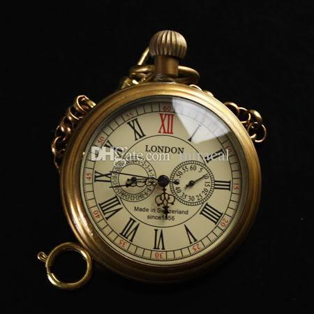 Steampunk pocket watch  Top Quality Vintage Solid Brass Half Hunter Mechanical Pocket ...