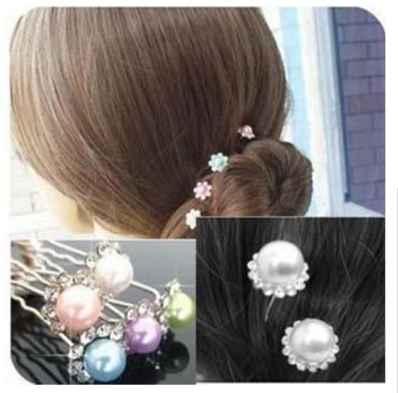 Hot ! 2015 New Fashion Pearl Hair Pins Crystal Hair Jewellery Wedding Bridal Jewelry Hair Accessories 200pcs