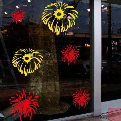 New Year Decorative Glass Door Stickers Shop Window Stickers Window Stickers  Monkey Flower Wall Stickers Colorful Fireworks Fire Mural Decals Mural  Sticker ...