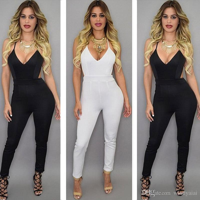 f783db1d3ff 2019 2017 New Arrive Women Jumpsuits Deep V Neck Fashion Sexy Women Rompers  Straps Backless Women Pants Cross Back Jumpsuits Black From Windyaiai