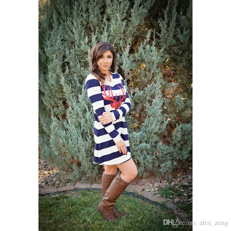 Anne Kızı Elbiseler Şerit Sonbahar Noel Karikatür Geyik Uzun Kollu Anne Ve Bana Elbise Elbise Aile Eşleştirme Kıyafetler