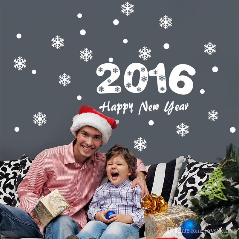 2016 Happy New Year Christmas Snowflake wall sticker home decor shop store Chirstmas festival window stickers decoration