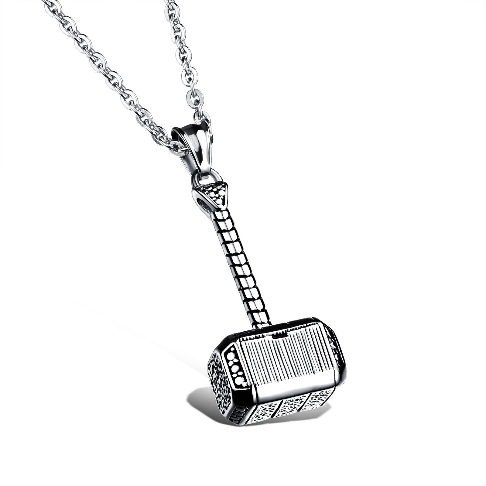 Wholesale punk fashion jewelry link chain cool Men's Stainless steel Hammer pendant necklaces decorated gift