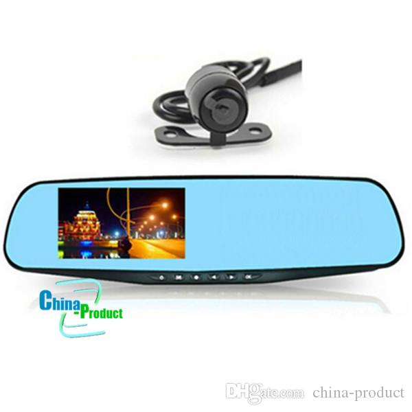 Car DVR Video Recorder Rear View Camera 4.3 inch 1080P Dual Lens Two Cameras Blue Mirror Full HD 120 Angle 010226
