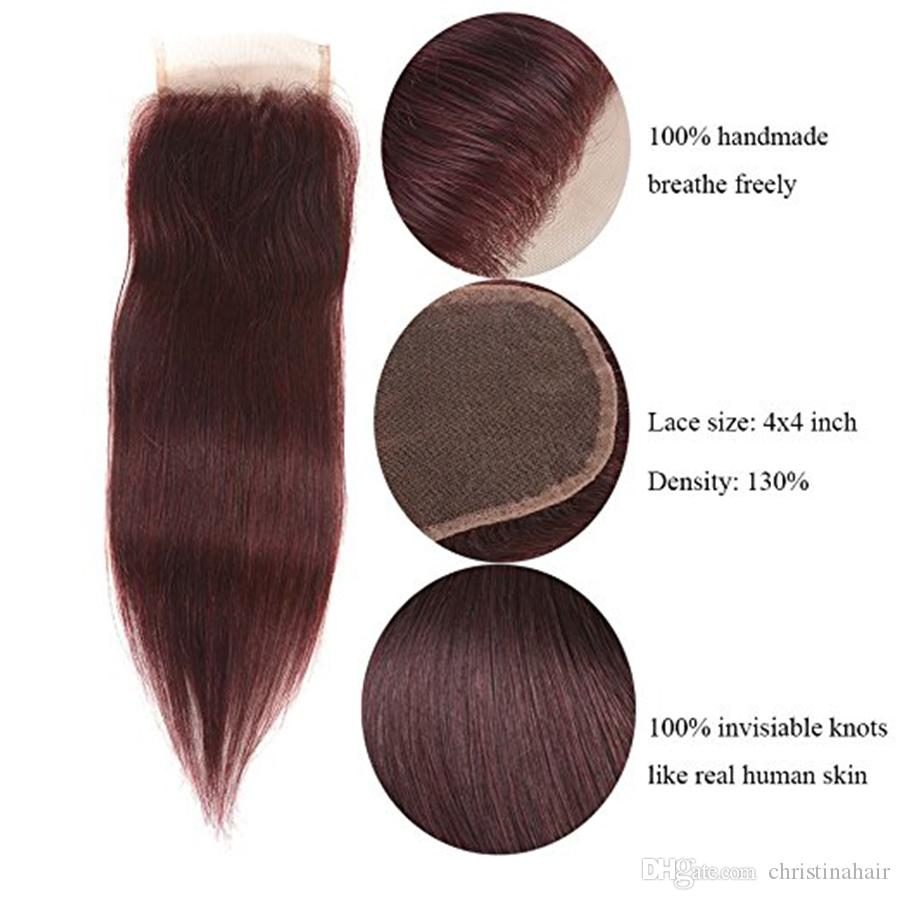 # 99J Burgunder-brasilianische Jungfrau-Haar-Webart mit Schließung Wein-rotes seidiges gerades Menschenhaar 3 Bündel mit 4x4 '' Spitze-Oberseiten-Schließung