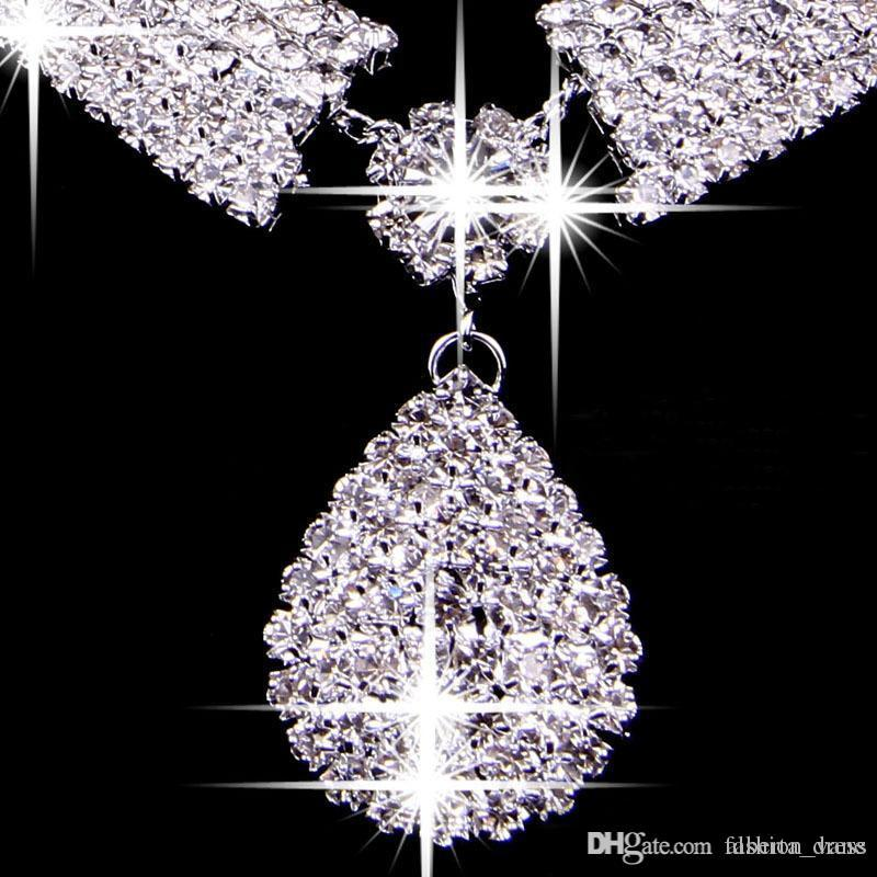 Luxury Bridal Accessories Necklace Earrings Accessories 2017 Wedding Jewelry Sets Two Pieces Cheap Fashion Style Hot