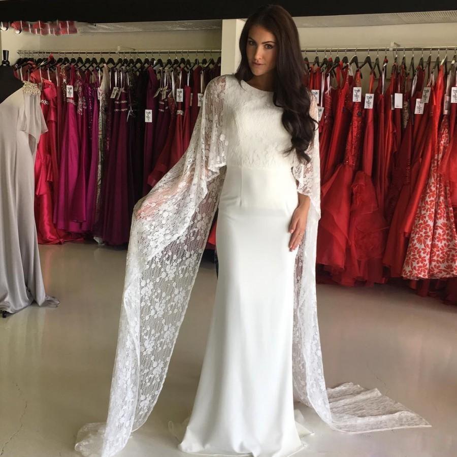 Beautiful White Lace Wrap Evening Dresses For Women Mermaid Floor Length Satin Prom Dresses Keyhole Back 2018