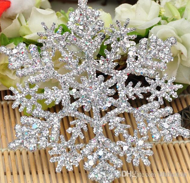 flocon de neige ornement 4 pouce en plastique Noël flocon de neige Ornements décorations de Noël accessoires pendentif Flocon de neige avec de la poudre CN03