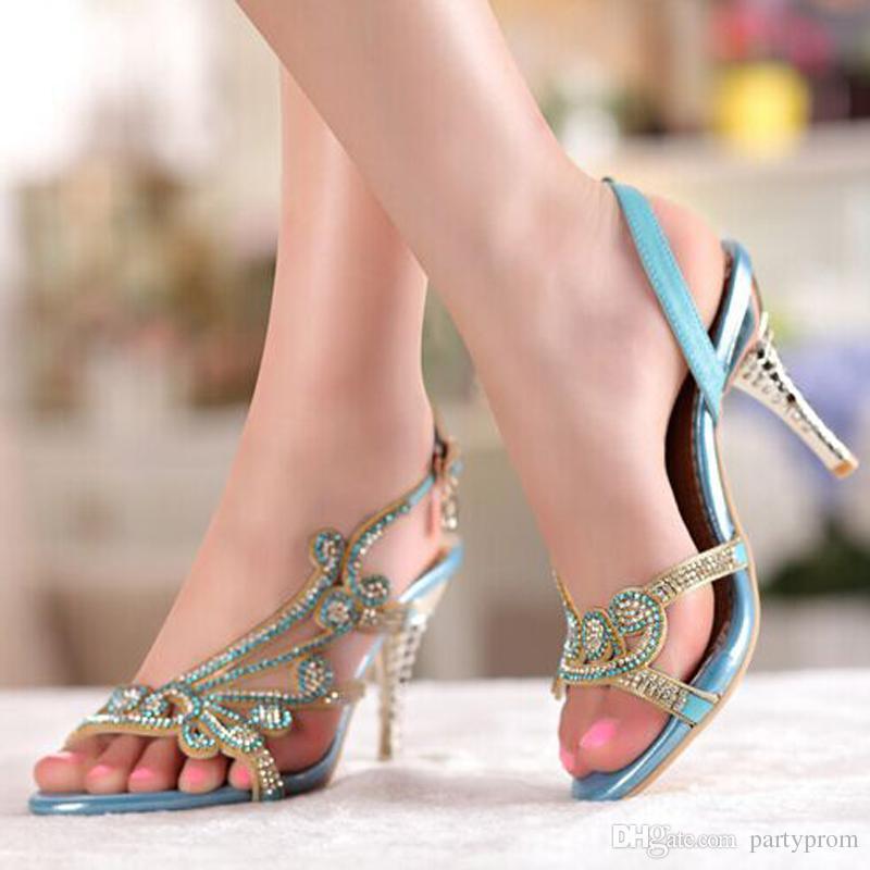 Fashion High Heel Sandals Rhinestone Open Toe Lady Bridesmaid Summer Cool Elegant Shoes Bridal Wedding Dresses Shoe
